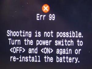 캐논 카메라에 에러 99 (err 99)을 수정하는 방법